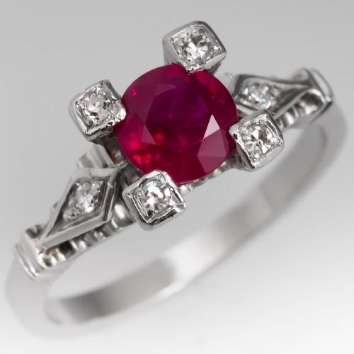 Vintage Ruby & Diamond Engagement Ring Platinum