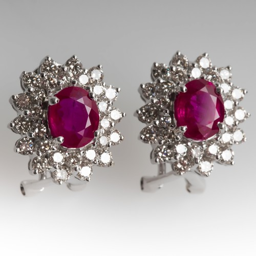 Ruby & Diamond Halo Stud Earrings 14K White Gold