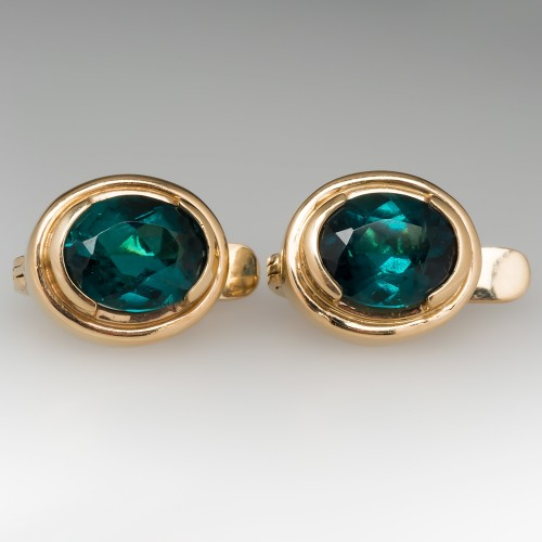 Beautiful Green-Blue Tourmaline Bezel Earrings 14K