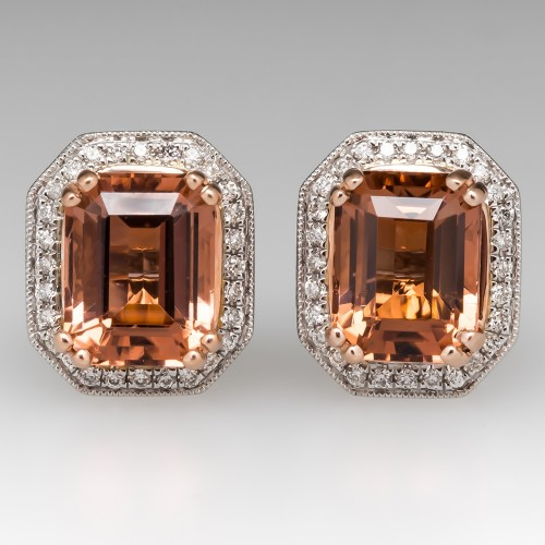 Pinkish Orange Tourmaline & Diamond Halo Stud Earrings