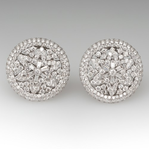 Large Starburst Diamond Earrings 14K White Gold