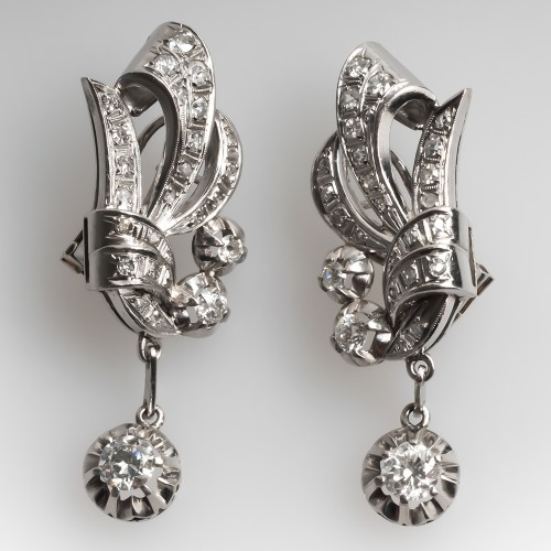 1940's Vintage Retro Diamond Earrings in Platinum