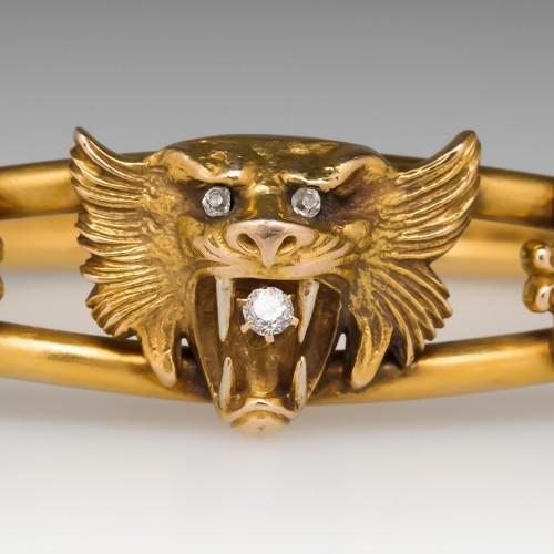 Victorian Era Antique Bangle Bracelet w/Tiger Cat & Diamonds 14K Gold