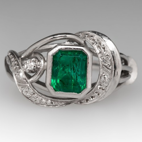 Vintage Emerald & Diamond Ring 18K White Gold