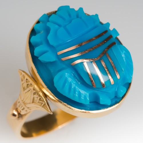 Vintage Turquoise Cocktail Ring 18K Gold Scarab Motif