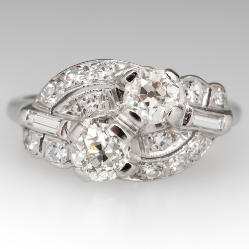 1920's Antique Toi et Moi Diamond Ring Platinum