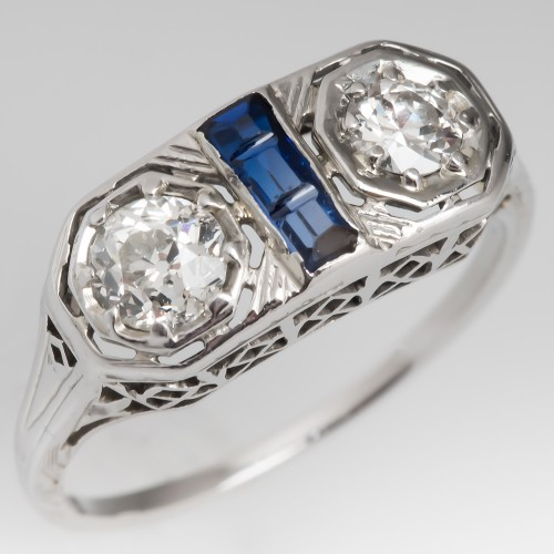 Art Deco Twin Old Euro Diamond Ring 18K White Gold