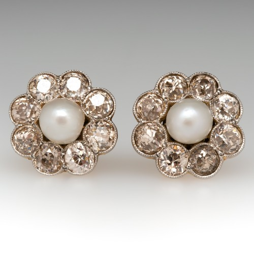 Victorian Pearl & Old Euro Diamond Stud Earrings