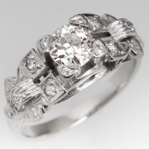 Old European Cut Diamond Engagement Ring with Accents 14K White Gold