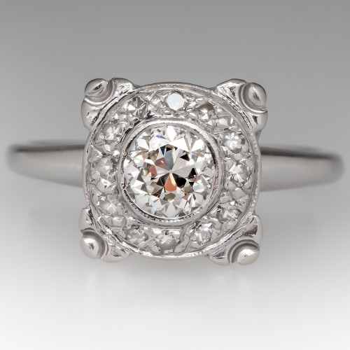 1940's Vintage Illusion Diamond Engagement Ring 14K White Gold