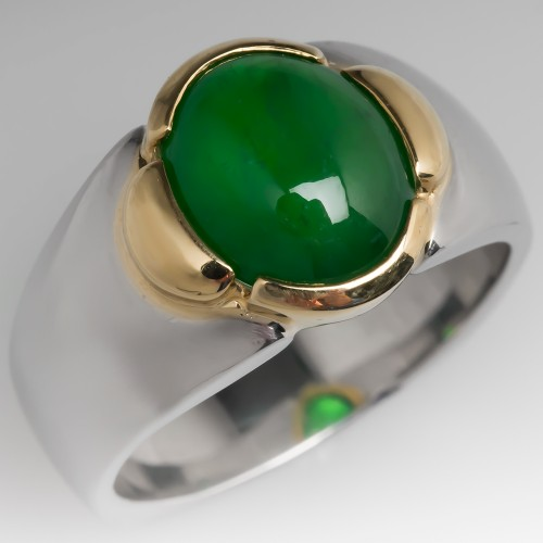 GIA Untreated Jadeite A Jade Ring Platinum & 18K