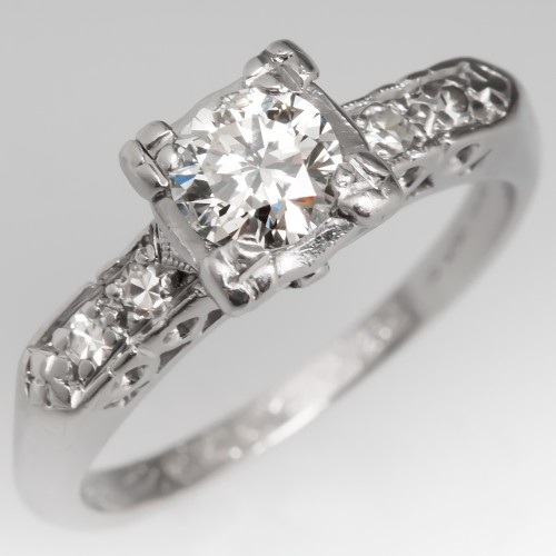 1950's Engagement Ring .46 Carat Center Diamond Platinum