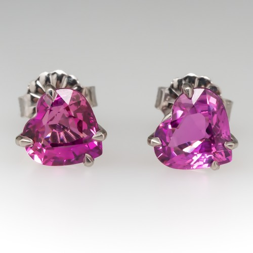 Heart Cut Pink Sapphire Stud Earrings Platinum