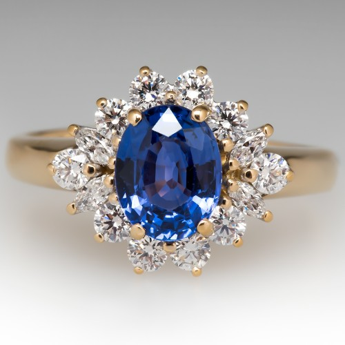 2 Carat Blue Sapphire & Diamond Ring 18K Yellow Gold
