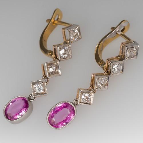 Pink Sapphire Drop Earrings w/ Old Euro Cut Diamonds 18K & Platinum