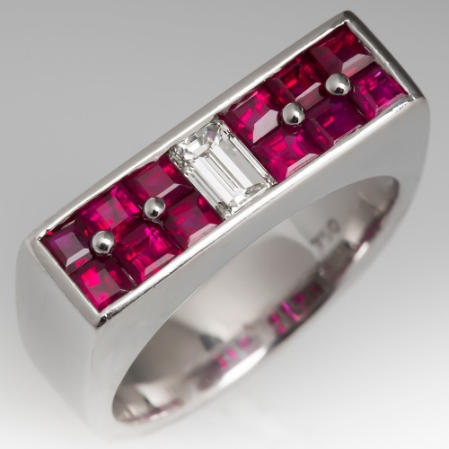 Diamond Ruby Band Ring 18K White Gold