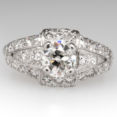 Art Deco Engagement Ring Old Mine Cut Diamond Platinum