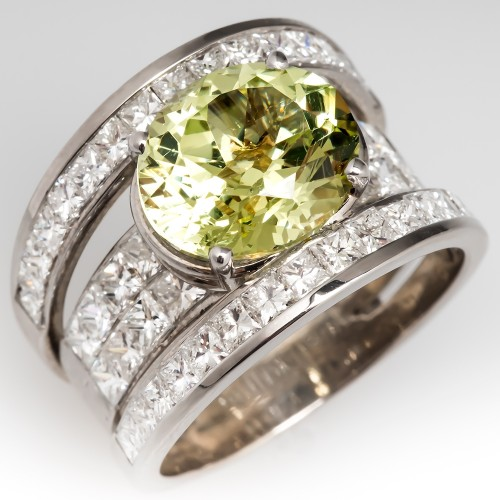 Large Chrysoberyl & Diamond Cocktail Ring Wide Band 18K