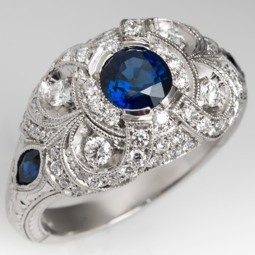 Vintage Blue Sapphire & Diamond Encrusted Engagement Ring Platinum Detailed