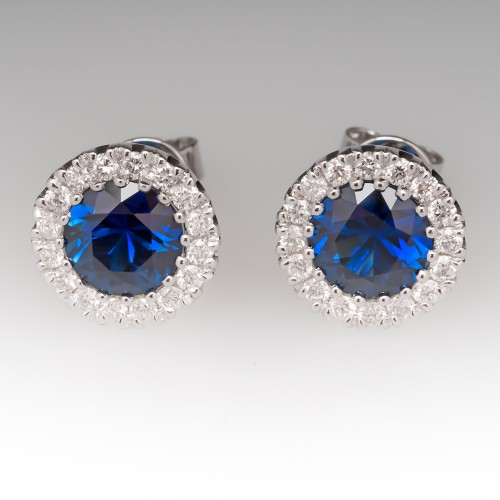 Electric Blue Sapphire & Diamond Halo Stud Earrings 14K