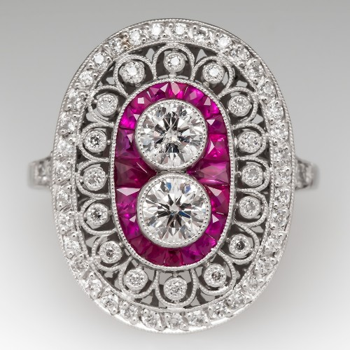 Vintage Diamond & Ruby Cocktail Ring Platinum Openwork Details