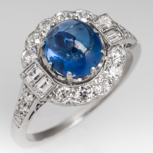 Cabochon Blue Sapphire & Halo Diamond Platinum Ring