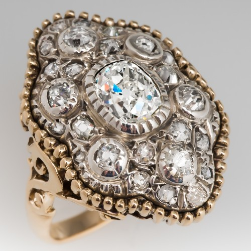 Victorian 1870's Antique Diamond Ring 14K Gold & Silver