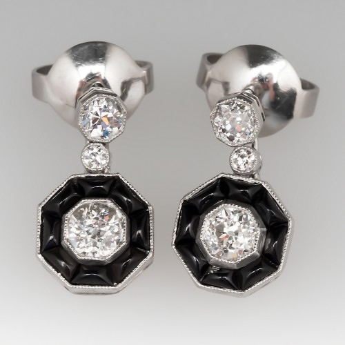Platinum Old European Cut Diamond & Onyx Deco Earrings