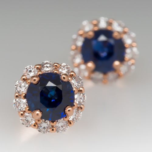 Blue Sapphire Stud Earrings with Diamond Halo 14K Rose Gold
