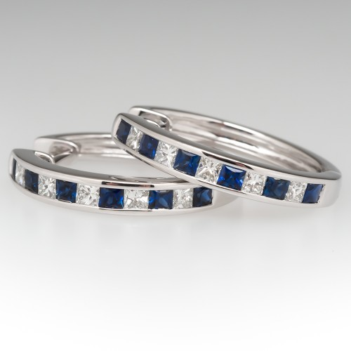 Blue Sapphire & Diamond Hoop Earrings 20mm 14k White Gold