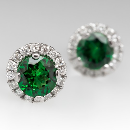Tsavorite Garnet Stud Earrings with Diamond Halo 18K White Gold