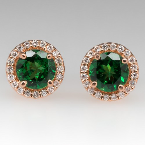 Tsavorite Garnet & Diamond Stud Earrings 14K Rose Gold