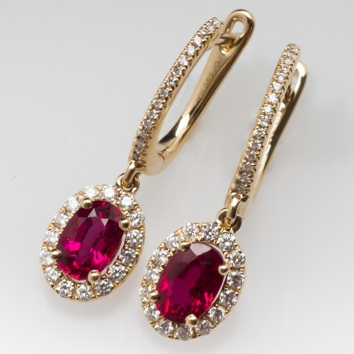 Bright Red Ruby Dangle Earrings with Diamond Halo 14K Yellow Gold