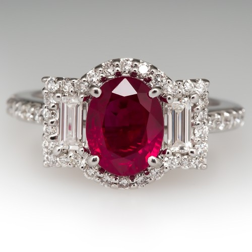 2.5 Carat Ruby & Baguette Diamond Ring 18K White Gold