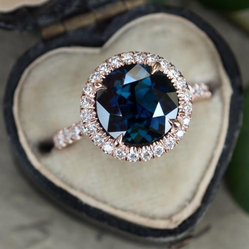 Round Cut Blue Green Sapphire Diamond Halo Rose Gold Ring