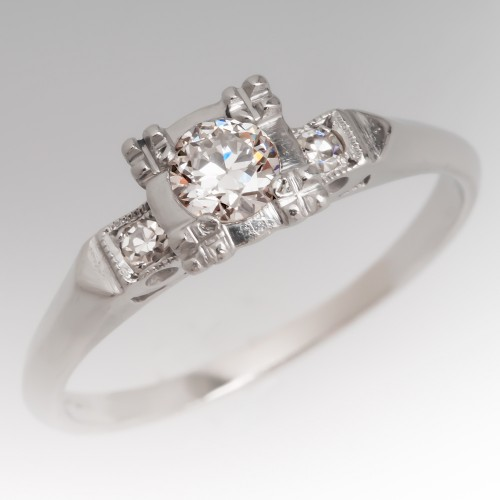 Early 1940's Transitional Brilliant Diamond Platinum Ring