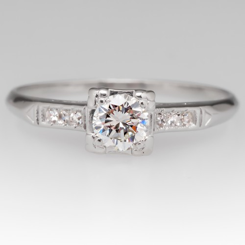 Vintage 1/3 Carat Diamond Engagement Ring Platinum