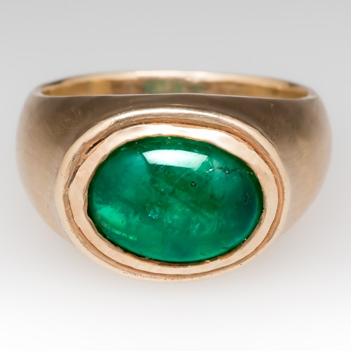 Mens 3 Carat Emerald Cabochon Ring 14K Brushed Finish