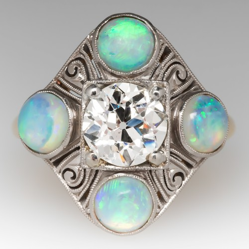 Signed Jabel Victorian Diamond Ring w/ Opals & Scroll Details