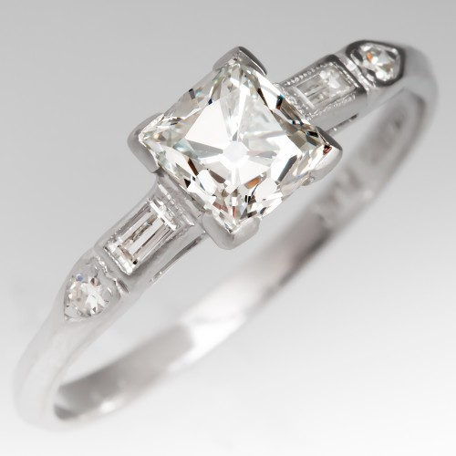 1920's Perfect Art Deco Engagement Ring in Platinum