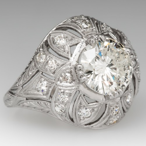 2.5 Carat Diamond Engagement Ring Circa 1920's Domed Platinum Setting