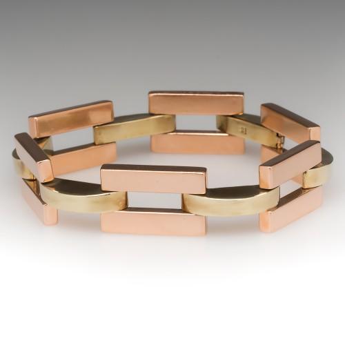 "1940's Retro Green & Rose Gold 7 3/4"" Link Bracelet 14K"