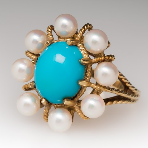 1960's Turquoise & Pearl Cocktail Ring 14K
