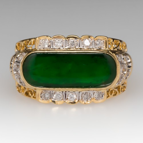 Vintage A-Jade & Diamond 18K Yellow Gold Unisex Ring
