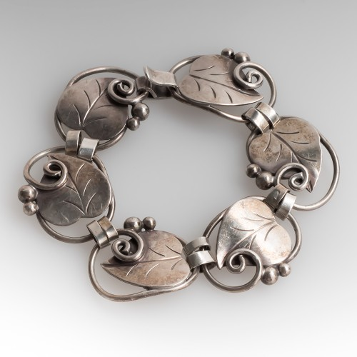 "Georg Jensen Sterling Bracelet Leaf & Berries 7"""