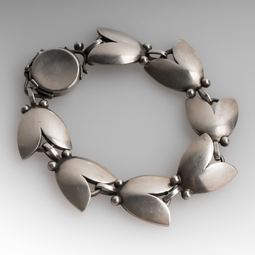 """Vintage 1940's Georg Jensen No. 93 Tulip Bracelet Sterling 7"""""""