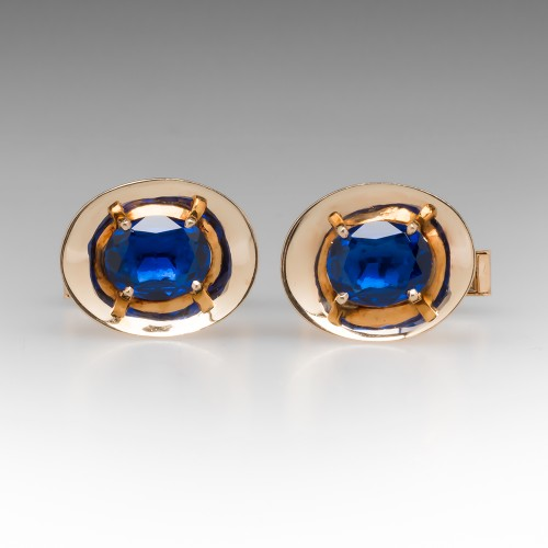 1970's Vintage Created Blue Sapphire Cufflinks 14K Yellow Gold