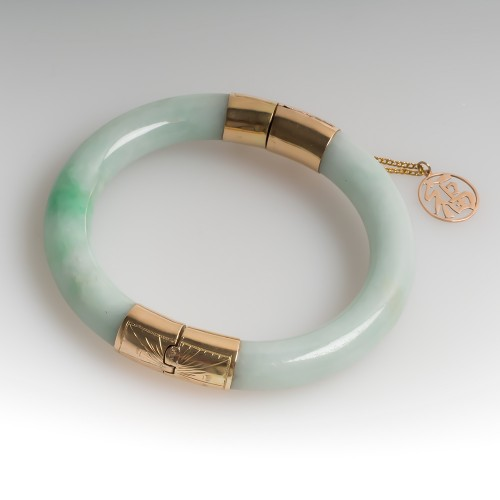 Vintage Jade Hinged Bangle Bracelet 14K