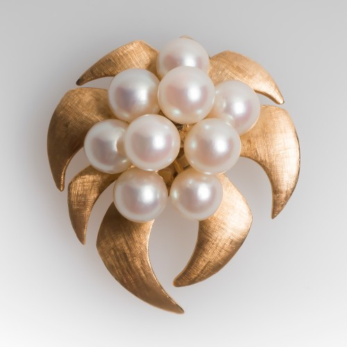 Vintage Cultured Pearl Cluster Brooch Pin Pendant 1970's