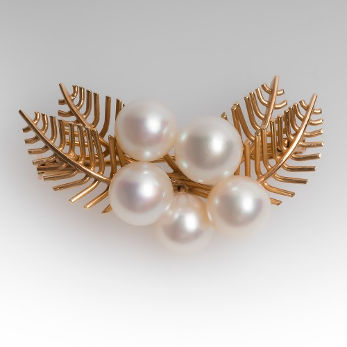 1960's Vintage Pearl Pin 14K Gold